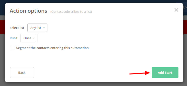Image of the dialog box you see after you say you want the tigger for the Active Campaign automation to be subscribes to a list allowing you select the list or just list you want