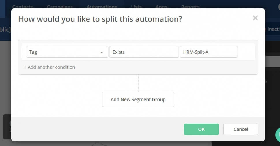 Image of a Active Campaign automation action to check if a contacts has the tag 'HR-Split-A' or not