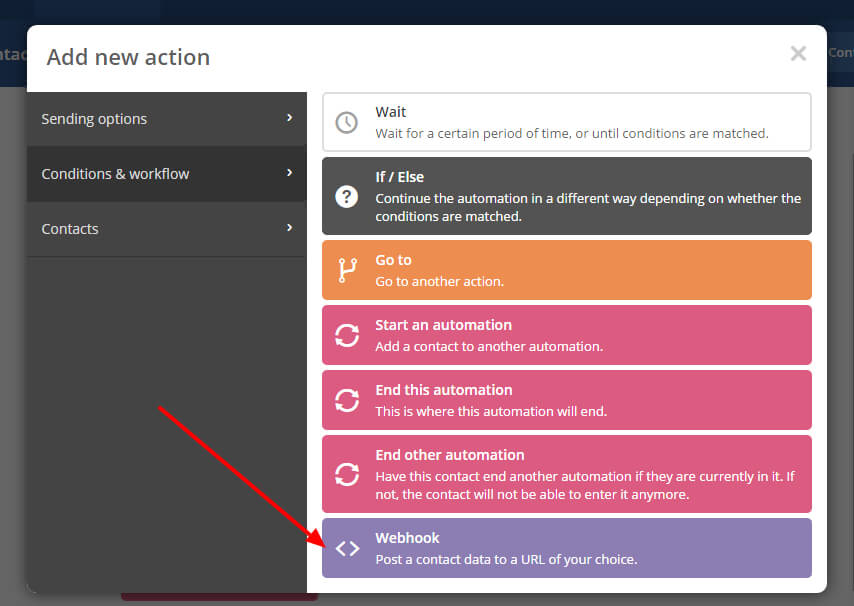 Image of the dialog box in Active Campaign Automations to allow you to add a webhook