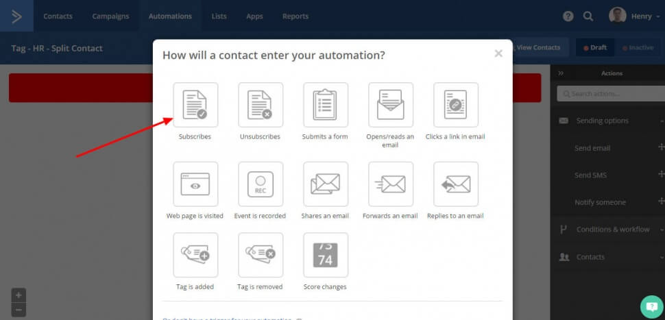 Image of the menu you see in Active Campaign automations where it asks you what is the trigger for the automation