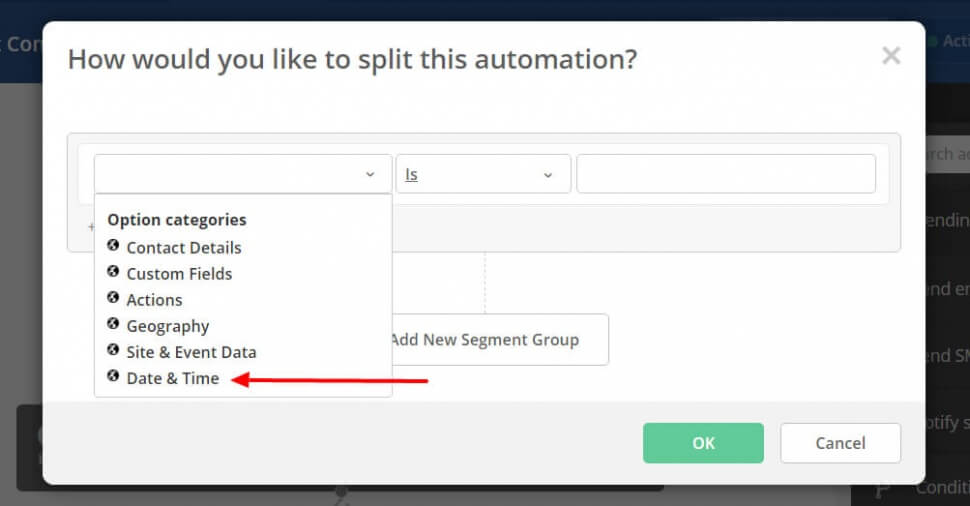 Image of the time and date way of splitting contacts in an Active Campaign automation