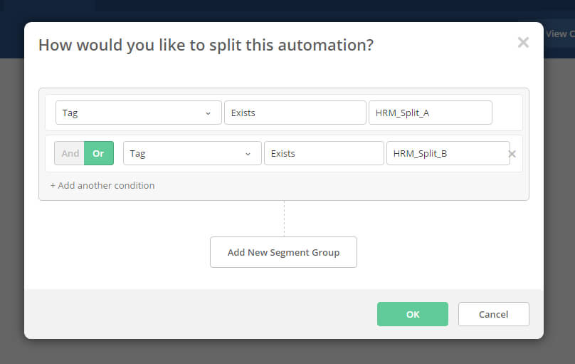 Image of the filter action to check if either HR_Split_A or HR_Split_B tags exist in the contact going through the automation
