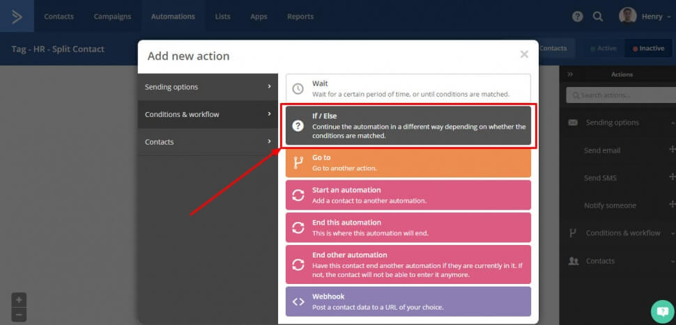 Image of the Active Campaign automation dialog box where you can add an If / Else action