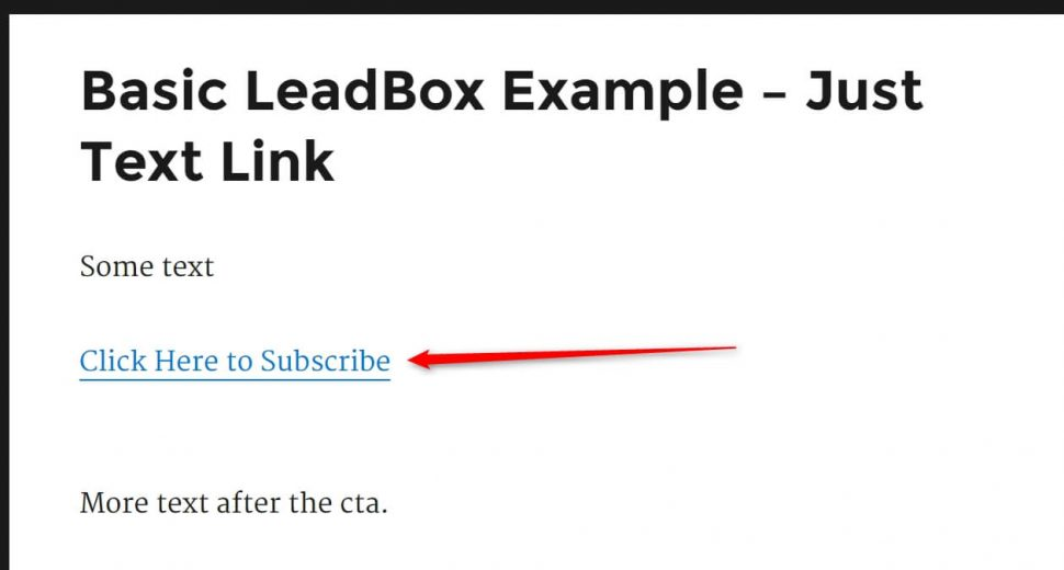 Image of a basic text link call to action used to popup a LeadBox