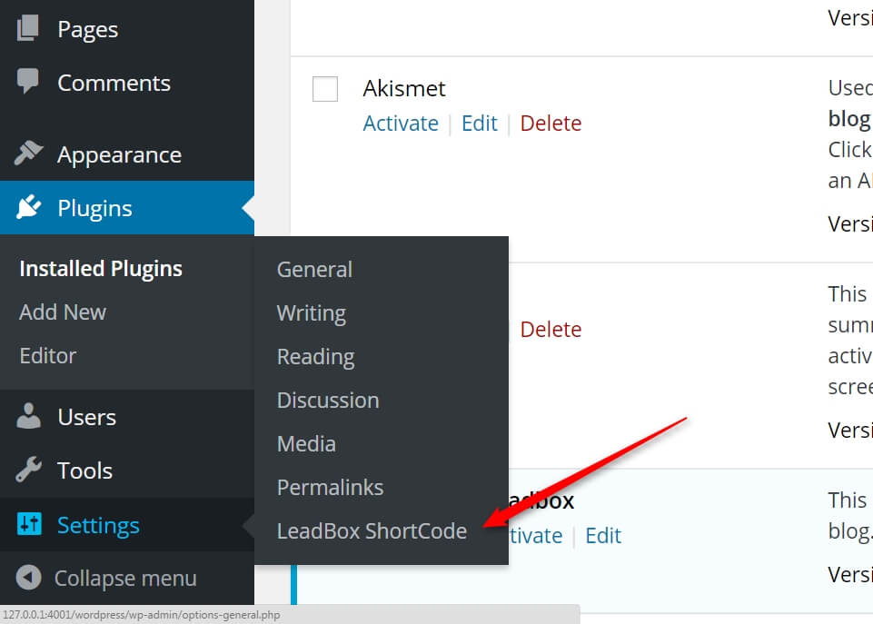 Image of the WordPress backend, where you can find all the Setting Sub-Menu's