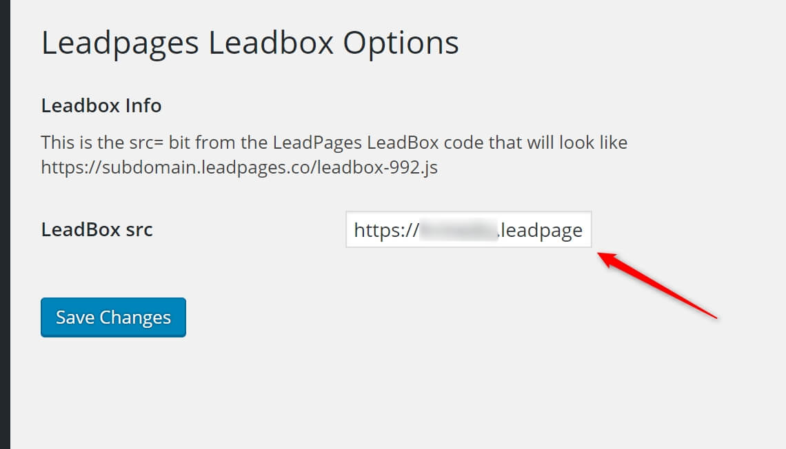 Image of the LeadBox ShortCode Options Page with the area that the LeadPages JS link has to be inseted